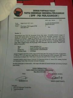 Surat Rekomendasi dari DPP PDI Perjuangan